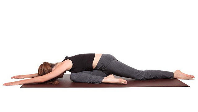 yoga poses - Pigeon Pose position (kapotasana)